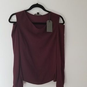 NWT All saints Lia cold shoulder burgundy top  4